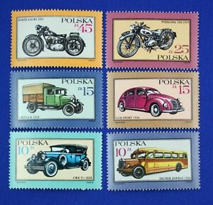 Z73 POLAND 1987 Antique Cars, Trucks, Motorcycles, set of 6 Stamps Mint NH
