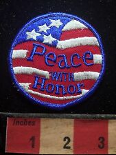 Old School PEACE WITH HONOR Patriotic USA Flag Patch 1980s / 1990s Era 72Y8