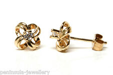 9ct Gold CZ Studs Knot Earrings Gift Boxed Made in UK Birthday Gift