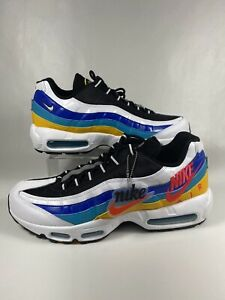 Nike Air Max 95 SE Windbreaker White Blue Yellow AJ2018-123 Men's Size 11 NEW