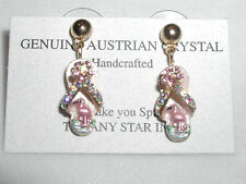 FLAMINGO EARRINGS AUSTRIAN CRYSTAL SANDAL SHOE FLIP FLOPS ENAMELED ADORABLE !!!