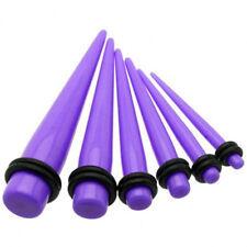 1 Pair Straight Purple Acrylic Tapers Piercings Gauges Ear Plugs Stretchers 6g