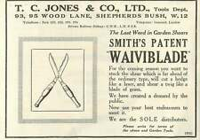 1926 Tc Jones Wood Lane Shepherd's Bush Garden Shears Old Advert