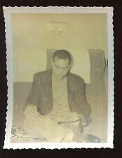 """Original Snapshot 3 1/4"""" X 4 1/4"""" Photo Joe Louis Boxer Reading"""