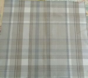 40cm square ISLES SKYE WOOL TOUCH CHECK TAUPE STONE BROWN CREAM GREY FABRIC