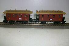 HO FLEISCHMANN - CONJUNTO 2 vagones viajeros marrones, de 2 ejes. Sin caja.