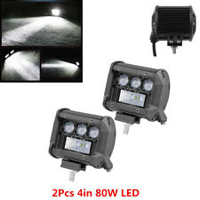 2Pcs Car Truck White Waterproof 4Inch 80W LED Spot+Flood Work Lights Bar Lamp