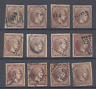 GREECE  1862 SECOND ATHENS PRINT  1l. BROWN  RANGE OF SHADES x 12 USED COPIES
