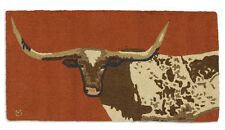 Longhorn Steer 2' x 4' Hooked Wool Rug - Western - Design by L Mengroz