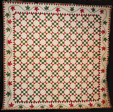 1850's QUILT APPLIQUED SAWTOOTH AND MAPLE LEAF BORDER HEAVILY QUILTED
