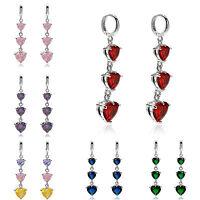 Women Jewellery Heart Cut 18K White Gold Plated Dange Drop Hoop Earrings