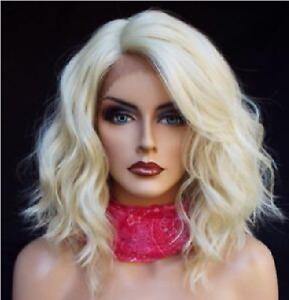 Lace Front Wig New Fashion Beautiful Women's Medium Platinum Blonde Wavy Wigs