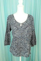 Lucky Brand Blue Peasant Drawstring Hemline Blouse Size Medium New Without Tags