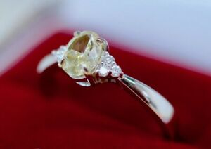 1.12Ct Natural Untreated Yellow Diamond Jewelry 14K White Gold Vintage Jewellery