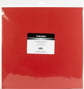 "ColorPlan 100lb Cover Solid Cardstock 12""X12"" 10/Pkg-Bright Red"