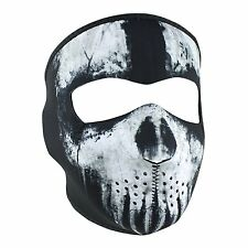Black White Skull Ghost Punisher Reversible Neoprene Face Mask Biker Costume