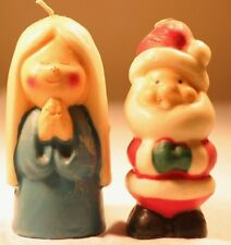 Vintage Christmas Mantel Candles Santa Claus Praying Angel