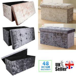 Crushed Velvet Diamante Ottoman Storage Box Folding Seat Foot Stool Large Bench