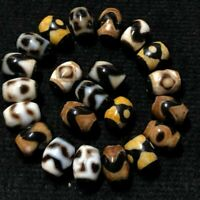 22pcs Antique Magic Old Tibetan Agate *Multiple Patterns* Oily Dzi Beads A04