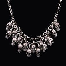 Damen Stil Schmuck Statement Bib Chunky Gothic Schädel hängende Halskette vvmm