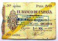 Spain-GUERRA CIVIL. Billete. 50 pesetas 1936. Banco de España. Gijón. Circulado.
