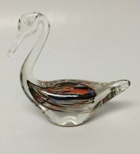 "Nordic Lasisepat Art Glass 4 1/2"" Swan Figurine Mantsala Handmade In Finland"