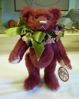 """9"""" Artist cranberry mohair Teddy ROOSEVELT BEAR Limited Cathy Peterson hand made"""