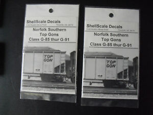Lot of 2 N Scale ShellScale Decals Norfolk Southern  Top Gons Decals NIP 156