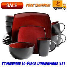 Gibson Home Soho Lounge Square Stoneware 16-Piece Dinnerware Set, Red, Kitchen