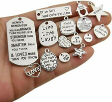 10 Quote Pendants Word Charms Antiqued Silver Mixed Lot Assorted Inspirational