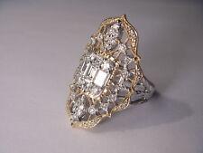 Gorgeous 18K White 2-Tone Gold Designer Filigree Diamond Ring Band