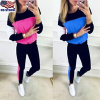 2PCS Women Ladies Sports Tops Pants Tracksuit Sweatshirt Sweat Suit Jogging Set
