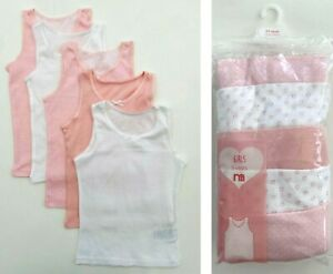 BNWT NEW Mothercare Girls Cotton Pink White 5 Pack Multipack Sleeveless Vests