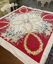 "Vintage California Hand Prints Tablecloth 46"" X 50"" Red Green Pink Gold Floral"