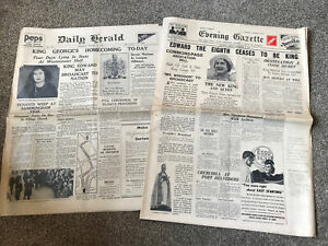 Eb81- Daily Herald King George's Homecoming To-day 1936 + Evening Gazette Paper
