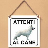 Pastore svizzero bianco 2 Attenti al cane Targa cane cartello ceramic tiles