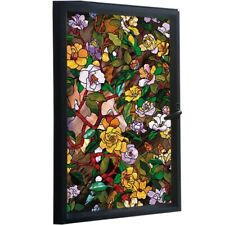 3D Stained Camellia Window Film Floral Static Cling Frosted Glass Sticker Opaque