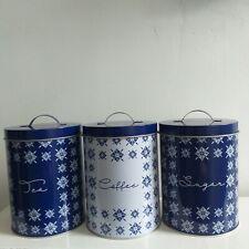 Retro White & Blue Caravan Camping Storage Tins kitchen Storage Canisters Jars