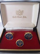 """Blue """"B&T"""" Cufflinks and Tie Tack, New Old Stock"""