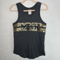 Victoria's Secret Pink Tanktop Sequin Gray Gold XS Sleeveless Shirt VS Scoop