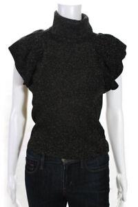 A.L.C. Womens Merino Wool Blend Shimmer Sleeveless Knit Top Gold Black Size M