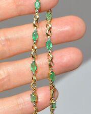 VTG 10K SOLID GOLD NATURAL EMERALD & DIAMOND BRACELET INFINITY LINK MEDIUM 7 1/2