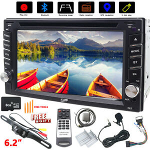 Double 2 Din Car Stereo GPS CD DVD AUX 6.2In Radio MAP SWC SD Unit Backup Camera