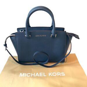 Michael Kors Medium Navy Blue Leather Handbag Shoulder Selma Bag