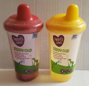 Lot Of 2 Parent's Choice Sippy Cup 9 Oz 6+ Months Red & Yellow Spillproof New!