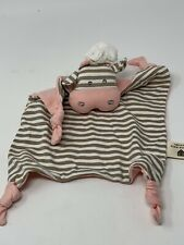 Organic Farm Buddies Chef Cow Baby Lovey Cotton Blanket Brown Pink Rattle Knots