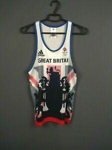 adidas Team Great Britain GB Singlet Vest Mens White Sleeveless AZ2648 ig93