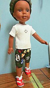 "I Like Soccer Shorts Set OOAK handmade to fit 14.5"" Wellie Wisher Boy Dolls"
