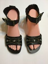 Steve Madden Womens fashion  Black Sandals Size 7.5 NEW Was $109.95 H6
