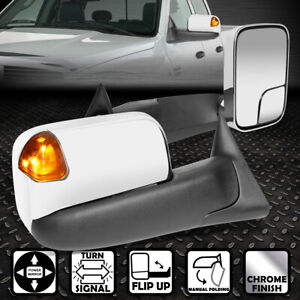 FOR 94-97 DODGE RAM PAIR CHROME POWERED SIDE TOWING MIRROR+LED TURN SIGNAL LIGHT